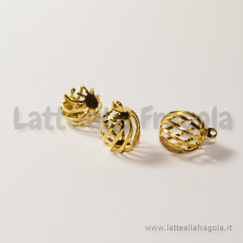 Ciondolo perla apribile a spirale in metallo Gold Plated 14x10mm