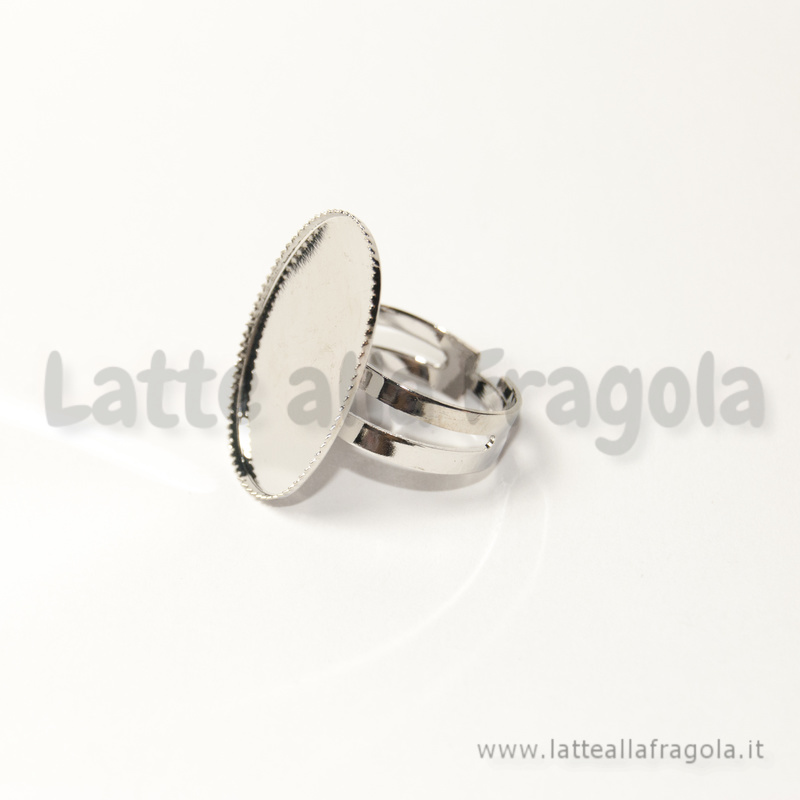 Base anello in rame argentato con base cammeo 25x18mm