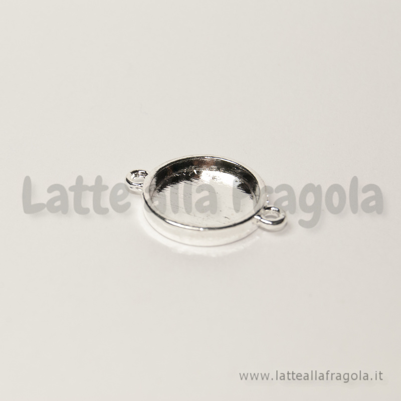 Connettore in metallo silver plated base tonda adatta a 16mm