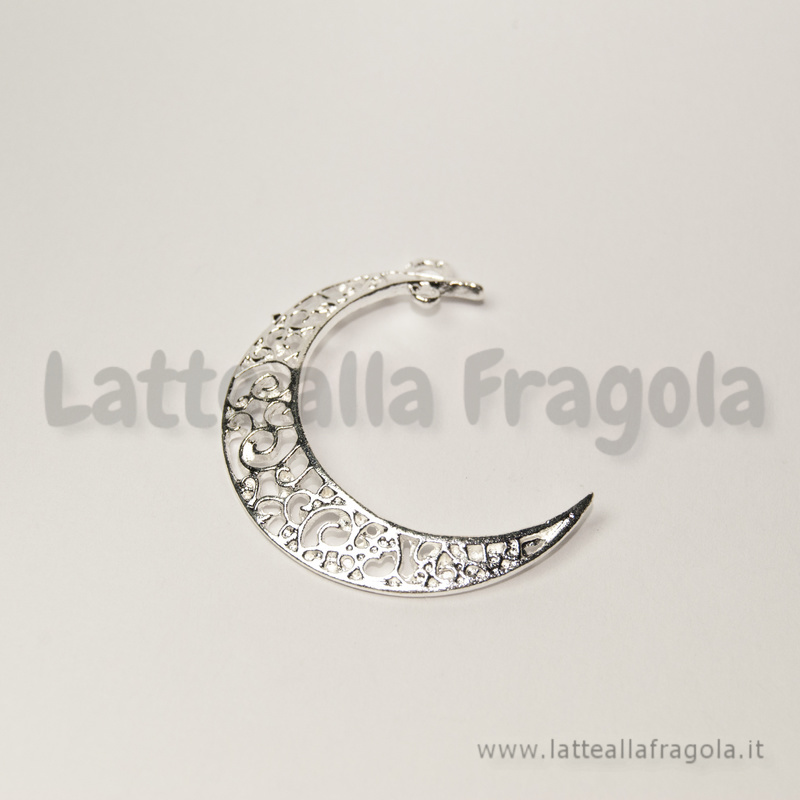 Ciondolo Luna filigranata in metallo Silver Plated 37x28mm
