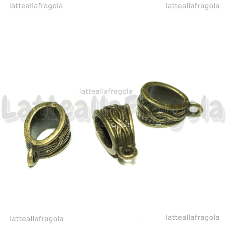 Portapendente decorato in metallo color bronzo 14x7mm