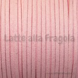 1 Metro piattina in alcantara 3x2mm rosa