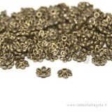 20 coppette copriperla in metallo color bronzo 6x2.8mm