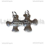 Ciondolo Puzzle You are my missing piece in metallo argentato 27x20mm