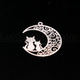 Ciondolo Filigrana Gatti su Luna in ottone smaltato rosa 25x20mm