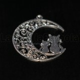 Ciondolo Filigrana Gatti su Luna in ottone silver plated 25x20mm
