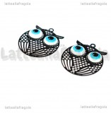 Ciondolo Filigrana Gufo in rame smaltato nero 21x17mm