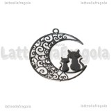 Ciondolo Filigrana Gatti su Luna in ottone smaltato nero 25x20mm