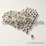 25 Perle in metallo Silver Plated 4mm