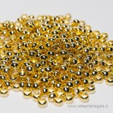 50 schiaccini in metallo gold plated 4mm