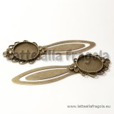 Segnalibro in metallo color bronzo 83x28mm con base tonda per cammeo 20mm