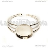 Bracciale rigido in metallo silver plated con base tonda 25mm