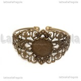 Bracciale rigido in ottone color bronzo filigrana e base cammeo 20mm