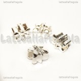 Farfalla foro largo in metallo silver plated 11x9mm