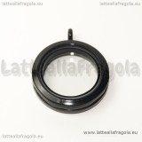 Ciondolo Apribile Tondo in metallo smaltato nero 29mm