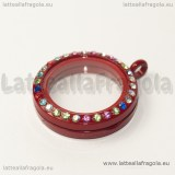 Ciondolo Apribile Tondo in metallo smaltato rosso strass multicolor 29mm
