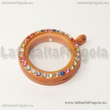 Ciondolo Apribile Tondo in metallo smaltato arancio strass multicolor 29mm