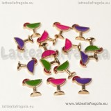 3 Charms Floating Bicchiere in metallo dorato smaltato 7mm
