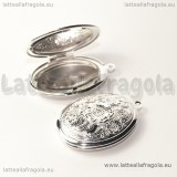Ciondolo apribile Ovale in rame Silver Plated 33x24mm