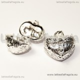 Ciondolo Cuore apribile in rame silver plated 23x18mm
