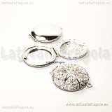 Ciondolo apribile Tondo filigranato silver plated 32x27mm