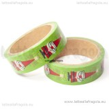 Washi Tape 15mm fantasia Natale Verde 5 Metri