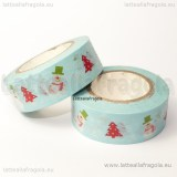 Washi Tape 15mm fantasia Natale Azzurro 10Metri